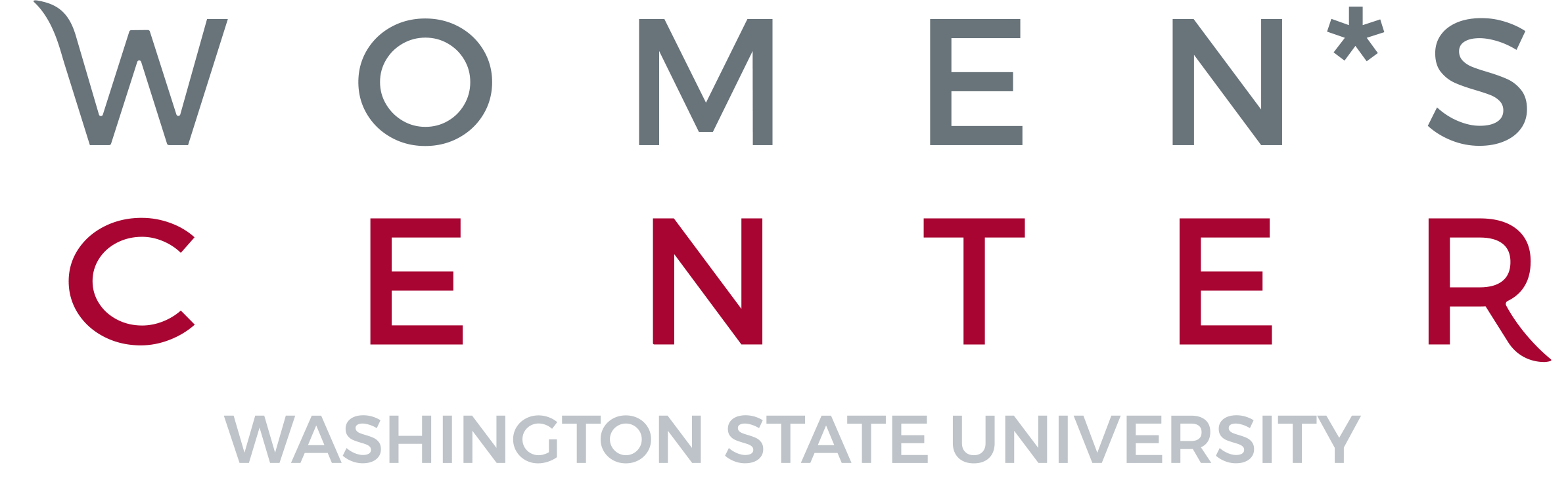 Washington State University Women's Center Logo, crimson and gray
