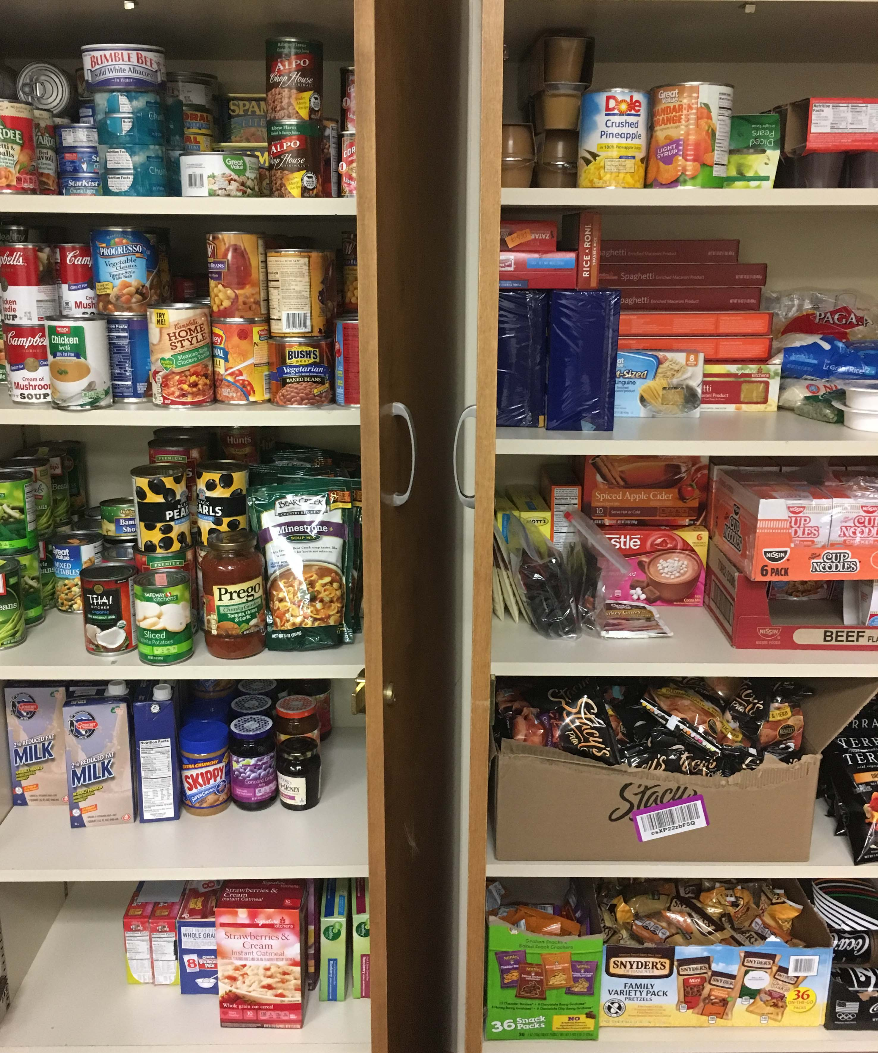 shelves of canned and boxed food
